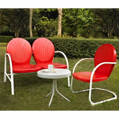 Crosley Furniture - Griffith 3 Piece Metal Outdoor Conversation Seating Set - Loveseat & Chair in Red Finish with Side Table in White Finish - KO10003RE