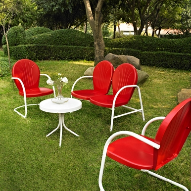 Crosley Furniture - Griffith 4 Piece Metal Outdoor Conversation Seating Set - Loveseat & 2 Chairs in Red Finish with Side Table in White Finish - KO10001RE