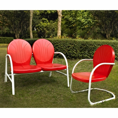 Crosley Furniture - Griffith 2 Piece Metal Outdoor Conversation Seating Set - Loveseat & Chair in Red Finish - KO10005RE