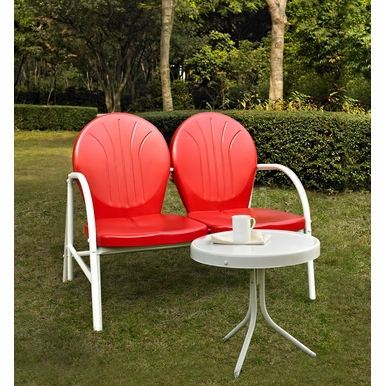 Crosley Furniture - Griffith 2 Piece Metal Outdoor Conversation Seating Set - Loveseat & Table in Red Finish - KO10006RE
