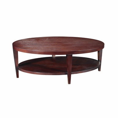 Allan Copley Designs - Marla Oval Cocktail Table with Shelf in Espresso on Birch Finish - 30506-01
