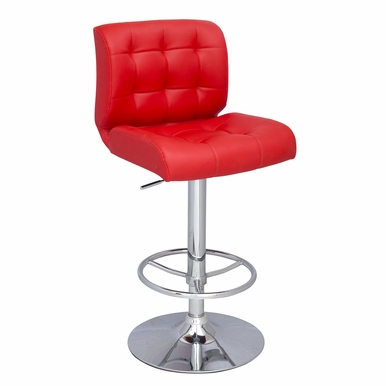 Chintaly - Stitched Seat Back Pneumatic Stool - 0361-AS-RED