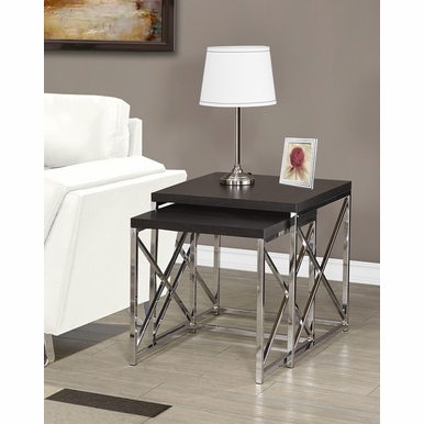 Monarch Specialties - Nesting Table 2 Pieces Set Cappuccino With Chrome Metal - I-3271