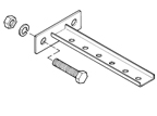 """B-100-BRCT2    Steel """"T"""" Bracket W/ Mounting Plate - 3 Holes, 5-1/4 Inches"""