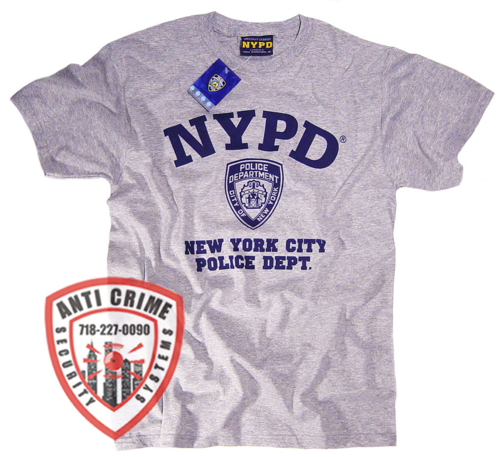 67b5be34c NYPD SHORT SLEEVE GRAY TRAINING TEE SHIRT WITH NAVY BLUE PRINT