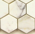 "(Sample) Calacatta Gold Italian Marble 2"" Hexagon Mosaic Polished"