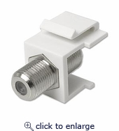 Snap-in F-type Coax Keystone Coupler White