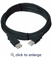 Ziotek USB 2.0 Cable A Male To A Female Black 15ft