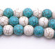 Howlite blue & White Round 10mm