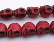 Turquoise Skull Red Color 17x17mm
