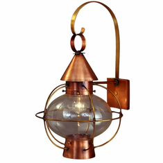 Cape Cod Onion Lantern Copper Wall Light with Scroll