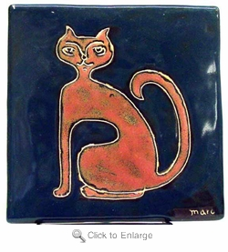"Mara Stoneware 6""X6"" Tile - Cat"