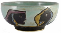 Mara Stoneware 72oz Serving Bowl - Faces - Light Green