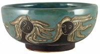 Mara Stoneware 72oz Serving Bowl - Faces Abstract-Slate