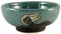 Mara Stoneware 24oz Serving Bowl - Faces Abstract - Slate