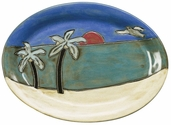 "Mara Stoneware Sm 13"" Oval Platter - Palm Trees/Beach"