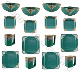 Prado Stoneware 16Pc Square Dinner Set-Matte Green