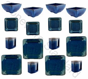 Prado Stoneware 16Pc Square Dinner Set - Royal Blue