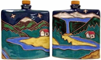 Mara Stoneware 24oz Square Decanter - Mountain Scene