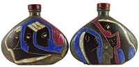Mara Stoneware 28oz Decanter - Many Faces