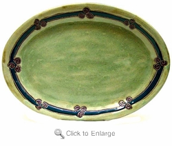 "Mara Stoneware Sm 13"" Oval Platter - Antique Green"