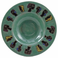 "Mara Stoneware 12"" Pasta Plate - Faces - Light Green"