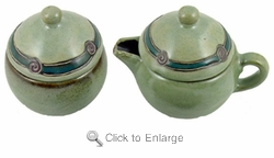 Mara Stoneware Sugar and Creamer - Antique Green