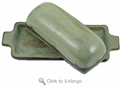 Mara Stoneware Butter Dish with Lid - Antique Green