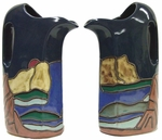 Mara Stoneware 32oz Pitcher - Mountain/Waterfall