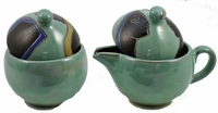 Mara Stoneware Sugar and Creamer - Faces - Light Green