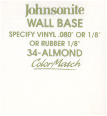 JOHNSONITE WALL BASE COLOR: ALMOND