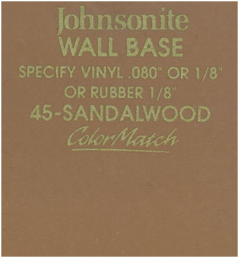 JOHNSONITE WALL BASE COLOR: SANDALWOOD
