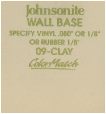 JOHNSONITE WALL BASE COLOR: CLAY