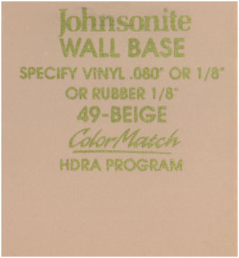 JOHNSONITE WALL BASE COLOR: BEIGE