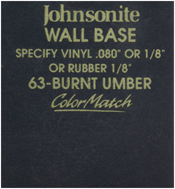 JOHNSONITE WALL BASE COLOR: BURNT UMBER