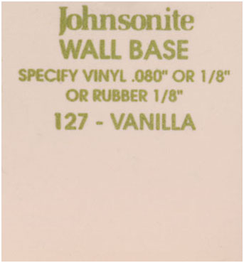 JOHNSONITE WALL BASE COLOR: VANILLA