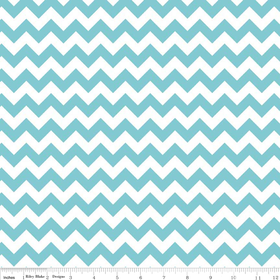 Small Chevron Yardage Aqua by Riley Blake