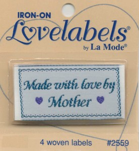 Label Made with Love By Mother Iron-on 4 ct