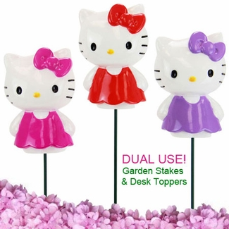 hello kitty garden stakes set of 3 only at garden. Black Bedroom Furniture Sets. Home Design Ideas