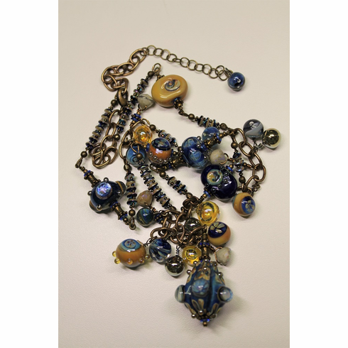 Necklace - Blues, Golds and Aquas