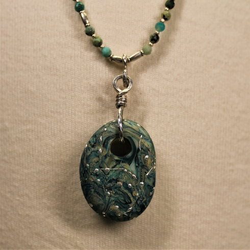 Necklace - Turquoise Glass