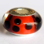 Ladybird-lampglass bead with slim, single, white silver cores