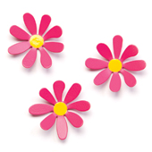 "NEW- Pink Daisy Magnets 3/set 2.5"" high"