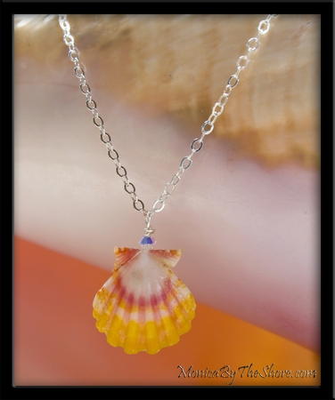 Princess Pink & Yellow Baby Sunrise Shell & Crystal Girl's Necklace