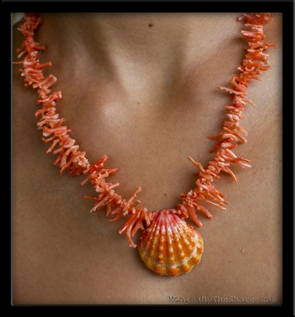 Peach Branch Coral & Pink and Peach Hawaiian Sunrise Shell Necklace