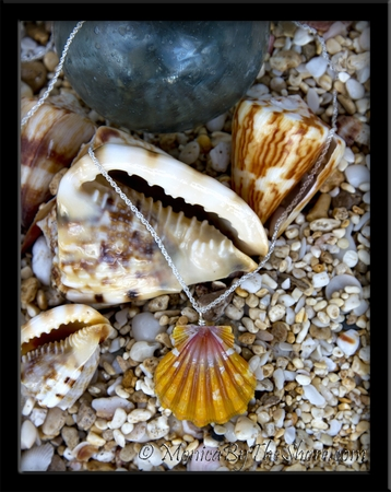 Large Deep Orange Gold & Pink Hawaiian Sunrise Shell Silver Rope Chain Necklace