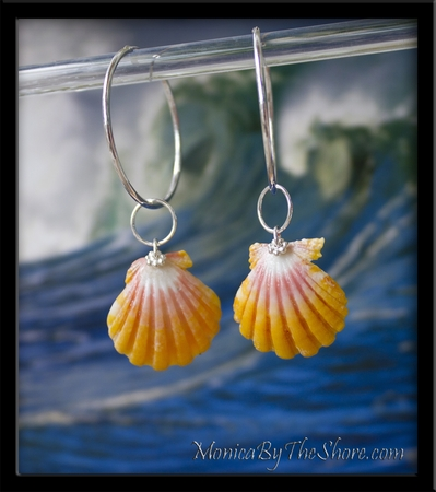 Large Bright Yellow & Pink Sunrise Shell Silver Hoop Earrings
