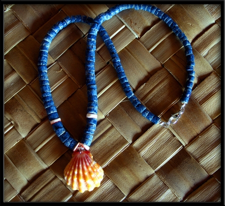 Yellow Pink Sunrise Shell & Blue Coral Necklace