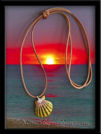 """Green Pink """"Moonrise"""" Hawaiian Sunrise Shell Natural Leather Adjustable Cord Necklace"""