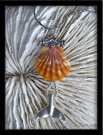 Hawaiian Sunrise Shell & Sterling Silver Whale Tail Pendant